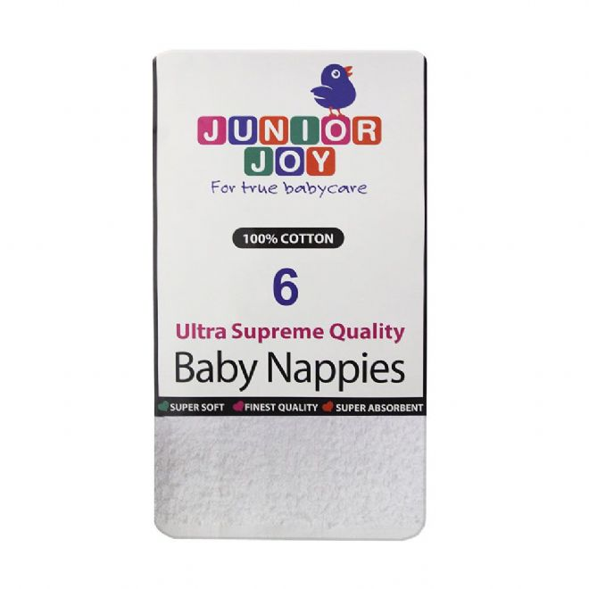 Junior Joy Terry Nappies - pack of 6